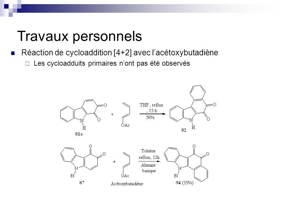 Travaux personnelsRéaction de cycloaddition [4+2] avec l'acétoxybutadiène.